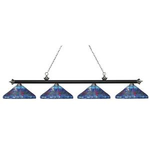 Z-Lite Riviera Pool Table Light -  4-Light - Matte Black - 82-in