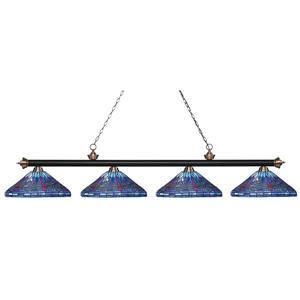 Luminaire pour table de billard, 4 lumières, noir/cuivre