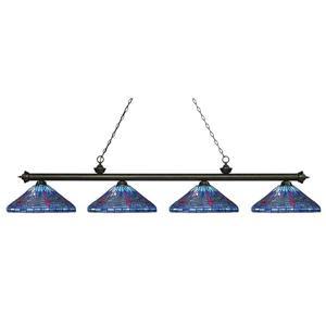 Luminaire pour table de billard, 4 lumières, bronze/or
