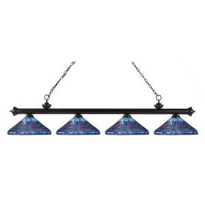 Luminaire pour table de billard, 4 lumières, bronze, 82