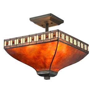 Plafonnier Crimson à 3 lumières, Java bronze ambré