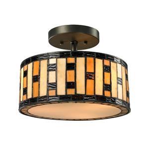 Z-Lite Raya Semi Flush Mount - 3 Light - Java Bronze - 12-in x  12-in x  9-in
