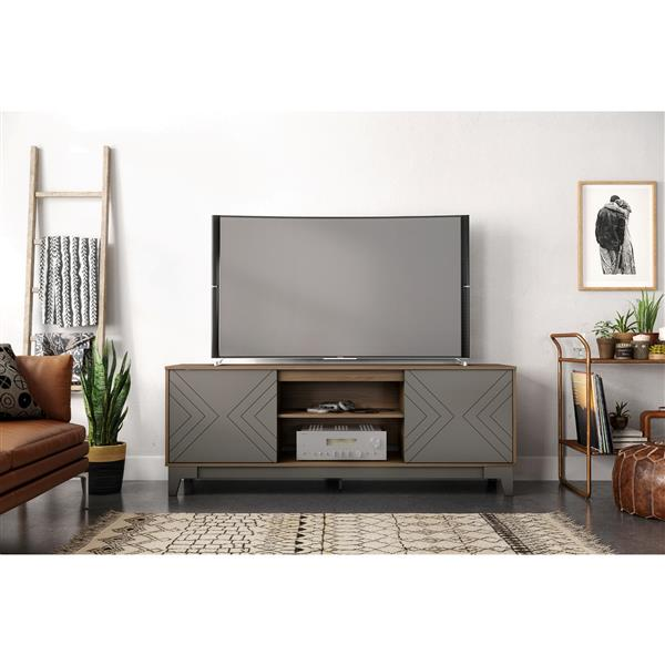 Nexera Arrow TV Stand - 70.5-in x 26.13-in - Wood - Nutmeg/Greige