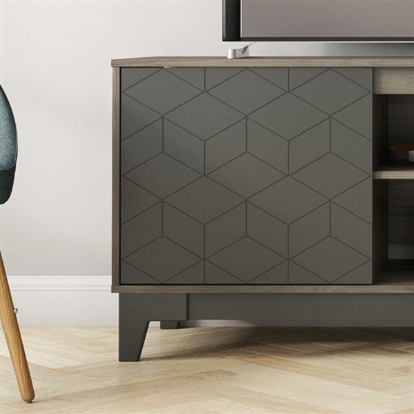 """Meuble télé Hexagon, 70,5"""" x 26,13"""", bois, gris/charbon"""