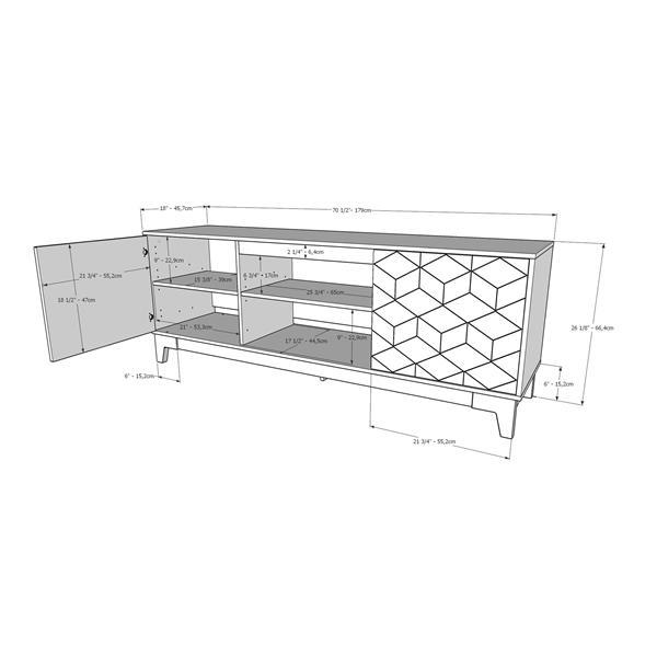 Nexera Hexagon TV Stand - 70.5-in x 26.13-in - Wood - Gray/Charcoal
