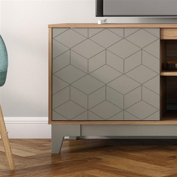 Nexera Hexagon TV Stand - 70.5-in x 26.13-in - Wood - Nutmeg/Greige