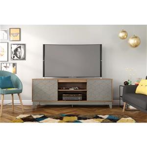 """Meuble télé Hexagon, 70,5"""" x 26,13"""", bois, muscade/grège"""