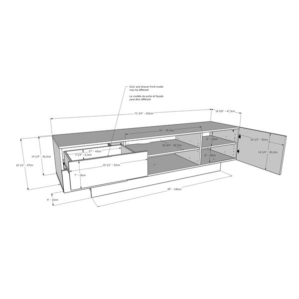 Nexera Morello TV Stand - 71.75-in x 18.38-in - Wood - Nutmeg