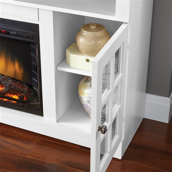 "Foyer électrique meuble média Huntley, Blanc, 59"""