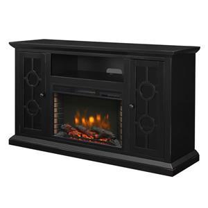 """Foyer électrique avec meuble télé Benton noir, 58"""""""