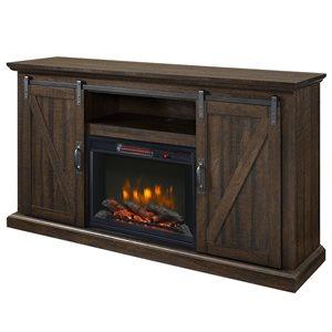 """Foyer électrique avec meuble télé Langdon, brun, 58"""""""