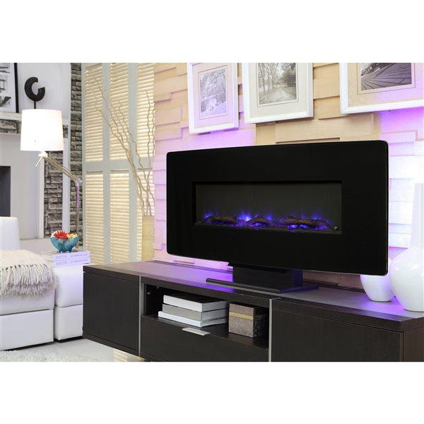 "Muskoka Curved Wall Mount Electric Fireplace - Black Glass - 36"""