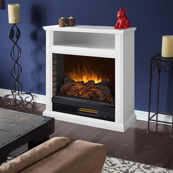 Pleasant Hearth Parkdale Mobile Infrared Electric Fireplace - White - 30-in
