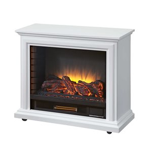 Pleasant Hearth Sheridan Mobile Infrared Fireplace -5 levels of heat - White