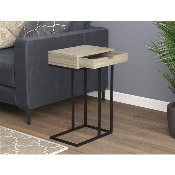 Safdie & Co. C-Shaped End Table 1 Drawer - Dark Taupe /Black Metal