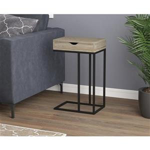 Safdie & Co. C-Shaped End Table 1 Drawer - Dark Taupe /Black Metal