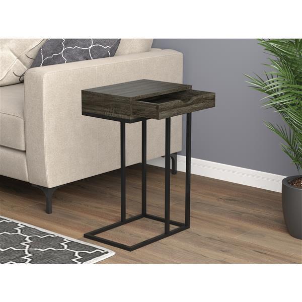 Safdie & Co. C-Shaped End Table 1 Drawer - Grey Wood /Black Metal