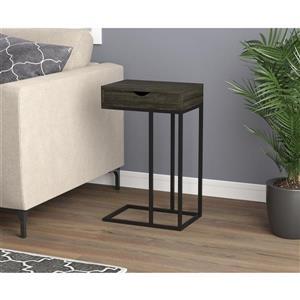 Table d'appoint forme en C, 1 tiroir,  bois gris/métal noir