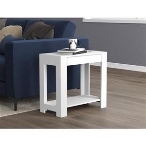 Table d'appoint rectangulaire avec 1 tiroir, blanche