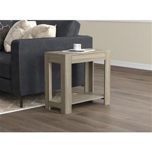 Table d'appoint rectangulaire avec 1 tiroir, taupe foncé