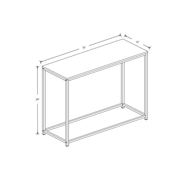 Safdie & Co. Console Table - White & Black Metal Base - 32-in L