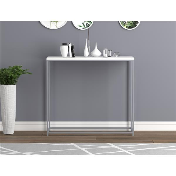 Safdie & Co. Console Table - White & White Metal Base - 32-in L