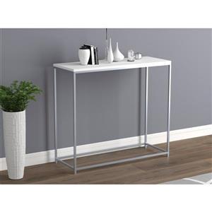 """Table console blanche avec base en métal blanc, 32"""""""