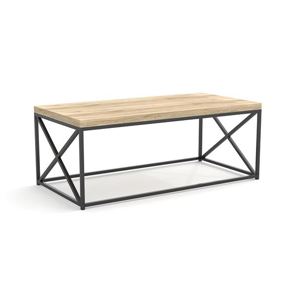 Safdie & Co. Coffee Table - Reclaimed Wood With Black Metal - 44-in L