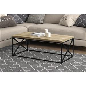 """Table de salon, bois récupéré base en métal noir, 44"""""""