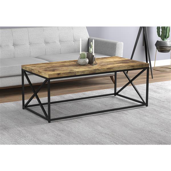 Safdie & Co. Coffee Table - Brown Reclaimed Wood With Black Metal - 44-in L