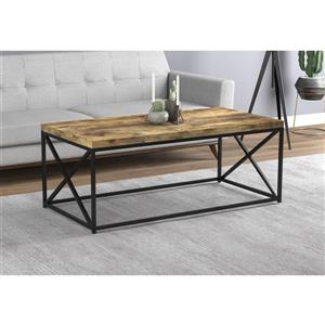 Safdie & Co. Coffee Table - Brown Reclaimed Wood With Black Metal - 44-in L