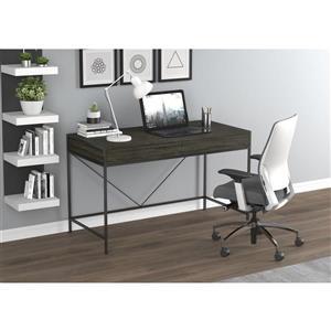 Bureau d'ordinateur, 2 tiroirs, bois gris/métal noir
