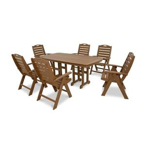 Trex Yacht Club Plastic Dining Set - 7 Pieces - Brown