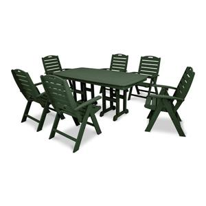 Trex Yacht Club Plastic Dining Set - 7 Pieces - Green
