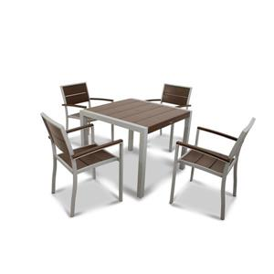 Trex Surf City Plastic Dining Set - 5 Pieces - Brown