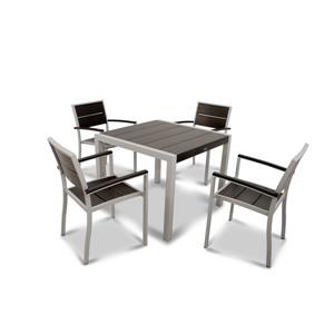 Trex Surf City Plastic Dining Set - 5-Pieces - Black
