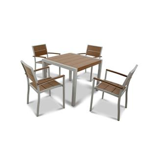 Surf City Plastic Dining Set - 5-Pieces - Brun