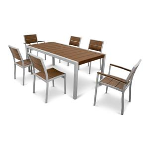 Surf City Plastic Dining Set - 7 Pieces - Brown