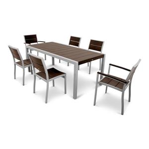 Trex Surf City Plastic Dining Set - 7 Pieces - Brown