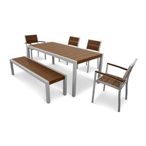 Trex Surf City Plastic Dining Set - 6 Pieces - Brown
