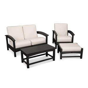 Trex Rockport 4-Piece Conversation Set - Black