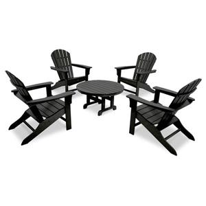 Yacht Club 5-Piece Adirondack Set - Black