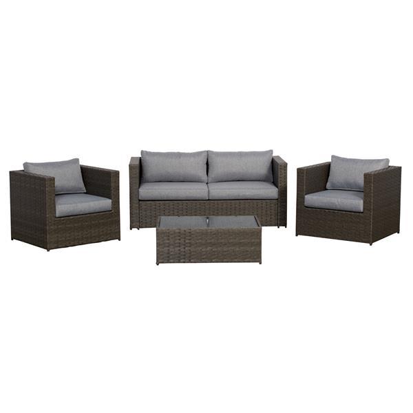Ensemble de patio avec chaises club Galena, gris, 4 mcx