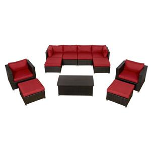 Think Patio Innesbrook Conversation Set with Cushions - Red - 11-piece