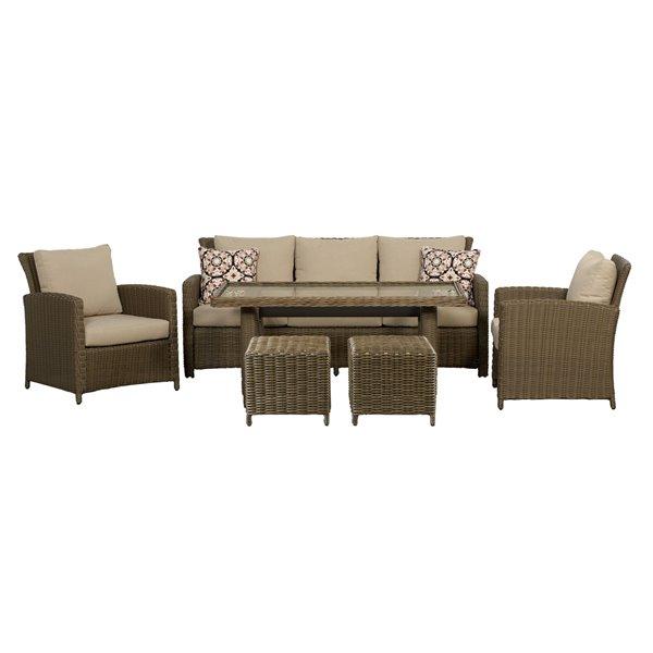 Think Patio Oakmont High Table Conversation Set - Tan - 6-piece