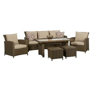 Think Patio Oakmont High Table Conversation Set - Tan - 6-piece