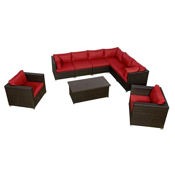 Think Patio Innesbrook Conversation Set with Cushions - Red - 9-piece