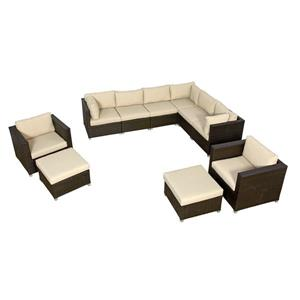 Think Patio Innesbrook Conversation Set with Cushions - Tan - 10-piece
