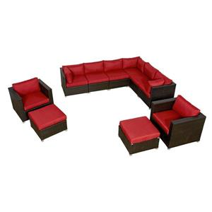 Think Patio Innesbrook Conversation Set with Cushions - Red - 10-piece