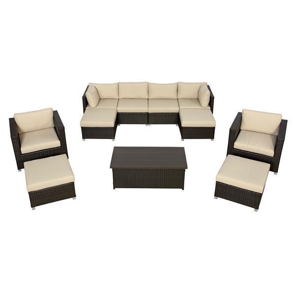 Think Patio Innesbrook Conversation Set with Cushions - Tan - 11-piece